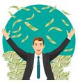 man in expensive suit gets bonus money vector image