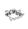 manga eyes looking from a paper tear isolated vector image