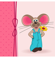mouse with flower vector image