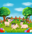natural view with the goat action in the yard vector image vector image