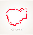 outline map of cambodia marked with red line vector image vector image