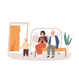 parents and kid choosing and buying apparel vector image vector image