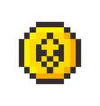 pixel ethereum cripto currency blockchain golden vector image vector image
