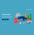 save ocean landing page vector image vector image
