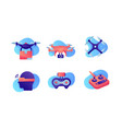 set icons with air drones delivery wi-fi remote vector image