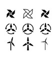 set of fan and wind energy icons vector image vector image