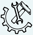 Spanner and hammer vector image vector image