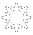 sun solar symbol isolated black and white vector image