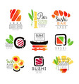 sushi bar logo design set of colorful watercolor vector image vector image