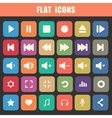 Trendy Flat Media Player Icons Set Multimedia vector image