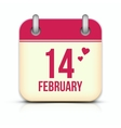 Valentines day calendar icon with reflection 14 vector image vector image