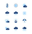 weather types symbols - set of flat design style vector image vector image