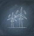 wind turbine chalkboard sketch vector image vector image