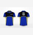 blue yellow and black sport football kits t-shirt vector image