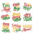 cinco de mayo mexican holiday fiesta icons vector image