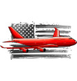 airplane with american flag vector image