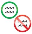 Aquarius permission signs set vector image vector image