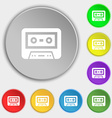 audiocassette icon sign Symbol on eight flat vector image vector image