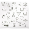 Awards and achievement sketches of icons set vector image vector image