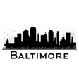 baltimore city skyline black and white silhouette vector image vector image