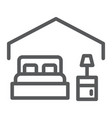 bedroom line icon hotel and sleep bed sign vector image vector image