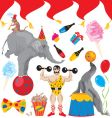 Birthday circus acts vector | Price: 3 Credits (USD $3)