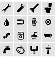 black plumbing icon set vector image vector image