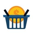 blue basket buy coin dollar vector image vector image