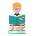 boy with glasses sitting and reading books vector image vector image
