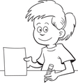 Cartoon Girl Sitting at a Desk vector image