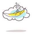 cartoon man connected and relaxing on cloud vector image