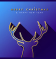 christmas and new year gold deer greeting card vector image vector image