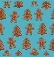 christmas seamless pattern brown gingerbread man vector image