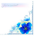 delicate blue flowers in a frame vector image vector image