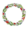 detailed contour wreath with herbs tulips vector image vector image