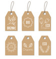 eco organic tags floral craft labels vector image