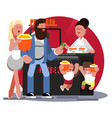 family buys pop corn vector image vector image
