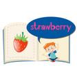 fresh strawberry on children book vector image