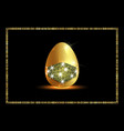 golden easter egg with glitter medical mask vector image vector image