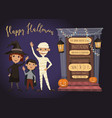 halloween party invitation with kids in costumes vector image vector image