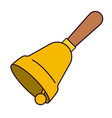 hand bell with wooden handle side view on colorful vector image vector image