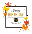 Happy Birthday Background with Paper Butterfly vector image vector image