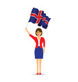 iceland flag waving woman vector image vector image