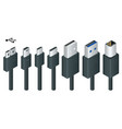 isometric black usb types port plug in cables set vector image
