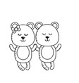 line cute animal couple bear together vector image vector image