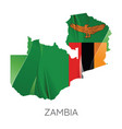 map zambia with national flag vector image vector image