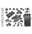 outline chocolate set icons vector image