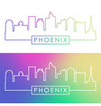 phoenix skyline colorful linear style vector image vector image