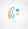 phone colorful icon - hand with handset vector image