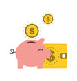 piggy bank dollar coins wallet business vector image vector image